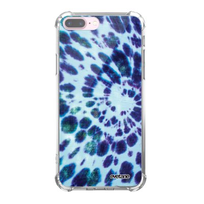 Coque iPhone 7 Plus / 8 Plus anti-choc souple avec angles renforcés transparente Tie and Dye Bleu Tendance Evetane...
