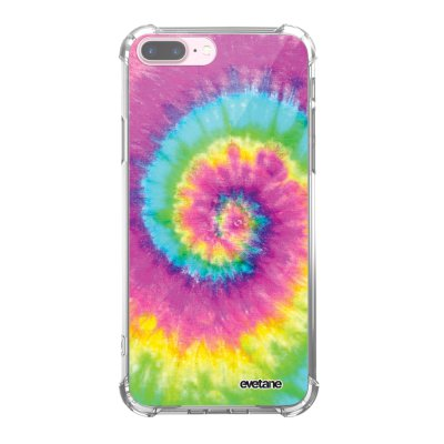 Coque iPhone 7 Plus / 8 Plus anti-choc souple angles renforcés transparente Tie and Dye Rainbow Evetane.
