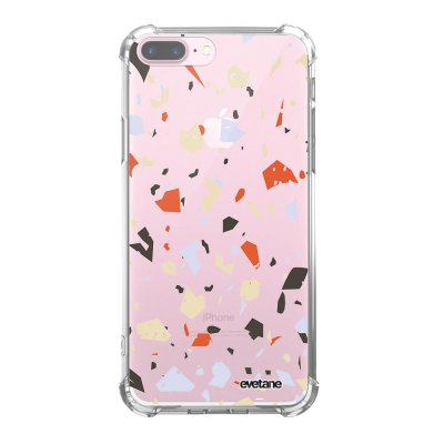 Coque iPhone 7 Plus / 8 Plus anti-choc souple angles renforcés transparente Terrazzo Blanc Evetane.