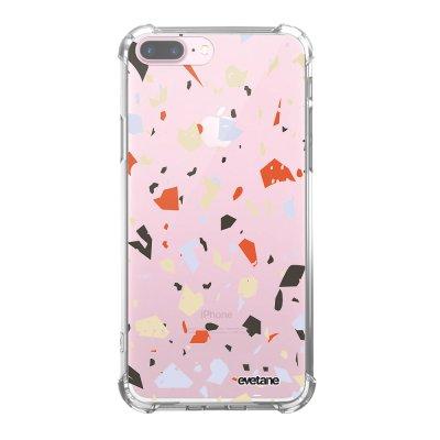 Coque iPhone 7 Plus / 8 Plus anti-choc souple avec angles renforcés transparente Terrazzo Blanc Tendance Evetane...