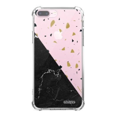 Coque iPhone 7 Plus / 8 Plus anti-choc souple angles renforcés transparente Terrazzo marbre Noir Evetane.