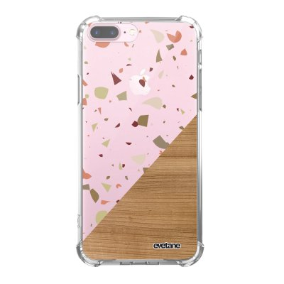 Coque iPhone 7 Plus / 8 Plus anti-choc souple angles renforcés transparente Terrazzo bois Evetane.