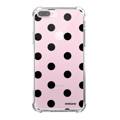 Coque iPhone 7 Plus / 8 Plus anti-choc souple angles renforcés transparente Pois Noir Evetane.