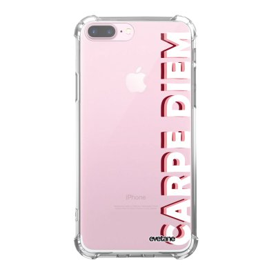 Coque iPhone 7 Plus / 8 Plus anti-choc souple angles renforcés transparente Carpe Diem New Evetane.