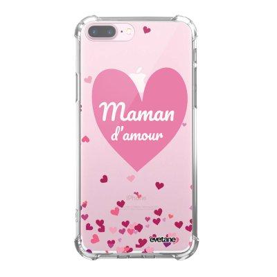 Coque iPhone 7 Plus / 8 Plus anti-choc souple angles renforcés transparente Maman d'amour coeurs Evetane.