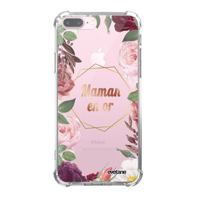 Coque iPhone 7 Plus / 8 Plus anti-choc souple angles renforcés transparente Coeur Maman D'amour Evetane.
