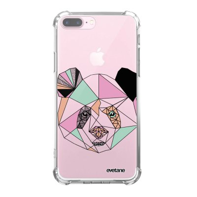 Coque iPhone 7 Plus / 8 Plus anti-choc souple angles renforcés transparente Panda Outline Evetane.