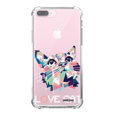 Coque iPhone 7 Plus / 8 Plus anti-choc souple angles renforcés transparente Cat pixels Evetane.
