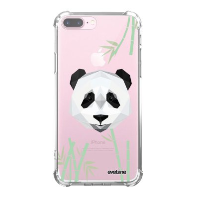 Coque iPhone 7 Plus / 8 Plus anti-choc souple angles renforcés transparente Panda Bambou Evetane.