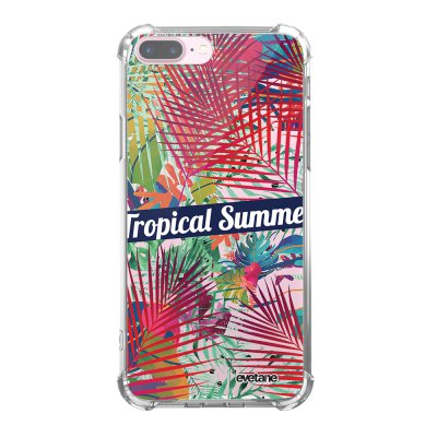 Coque iPhone 7 Plus / 8 Plus anti-choc souple angles renforcés transparente Tropical Summer Evetane.