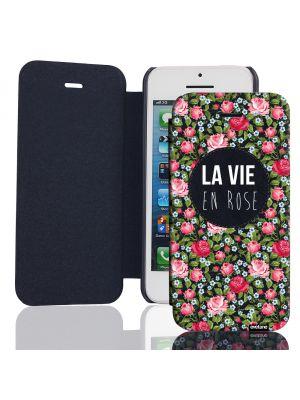 Etui de protection effet cuir iPhone 5/5s - Rose et vert