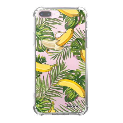 Coque iPhone 7 Plus / 8 Plus anti-choc souple angles renforcés transparente Bananes Tropicales Evetane.