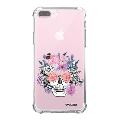Coque iPhone 7 Plus / 8 Plus anti-choc souple angles renforcés transparente Crâne floral Evetane.