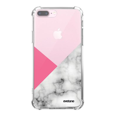 Coque iPhone 7 Plus / 8 Plus anti-choc souple angles renforcés transparente Marbre rose et gris Evetane.