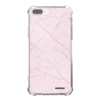 Coque iPhone 7 Plus / 8 Plus anti-choc souple angles renforcés transparente Marbre rose Evetane.