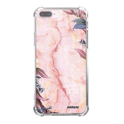 Coque iPhone 7 Plus / 8 Plus anti-choc souple angles renforcés transparente Marbre Fleurs Evetane.