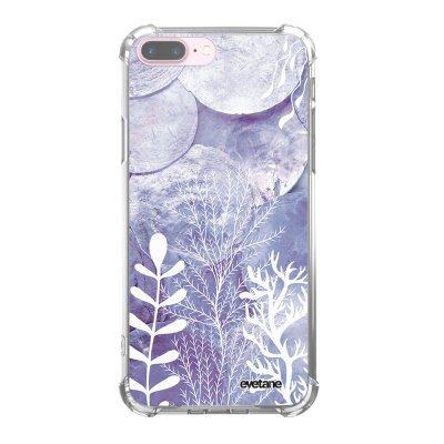 Coque iPhone 7 Plus / 8 Plus anti-choc souple angles renforcés transparente Nacre et Algues Evetane.