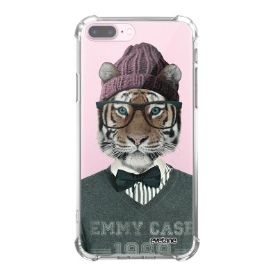 Coque iPhone 7 Plus / 8 Plus anti-choc souple angles renforcés transparente Tigre Fashion Evetane.