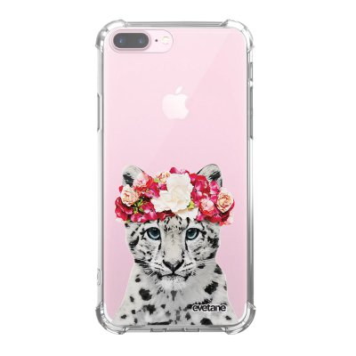 Coque iPhone 7 Plus / 8 Plus anti-choc souple angles renforcés transparente Leopard Couronne Evetane.