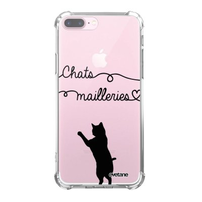 Coque iPhone 7 Plus / 8 Plus anti-choc souple angles renforcés transparente Chats Mailleries Evetane.