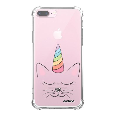 Coque iPhone 7 Plus / 8 Plus anti-choc souple angles renforcés transparente Chat licorne Evetane.