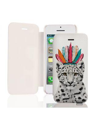 Etui de protection effet cuir iPhone 4/4s - Blanc et gris