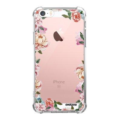 Coque iPhone 5/5S/SE anti-choc souple avec angles renforcés transparente Flowers Tendance Evetane...