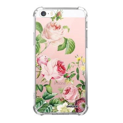 Coque iPhone 5/5S/SE anti-choc souple avec angles renforcés transparente Motifs Roses Tendance Evetane...