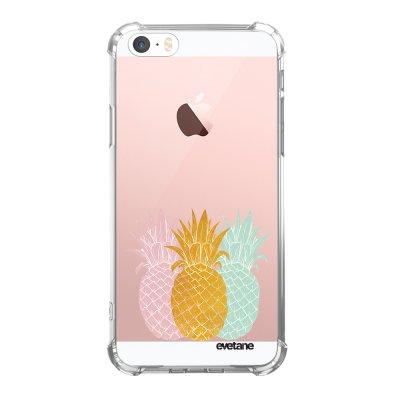 Coque iPhone 5/5S/SE anti-choc souple avec angles renforcés transparente Ananas trio Tendance Evetane...