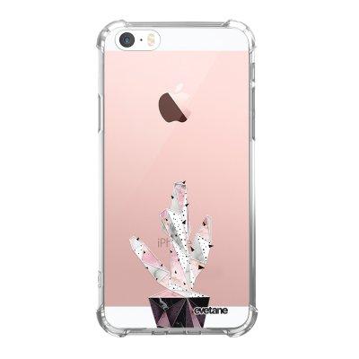 Coque iPhone 5/5S/SE anti-choc souple angles renforcés transparente Cactus Geometrique Marbre Evetane.