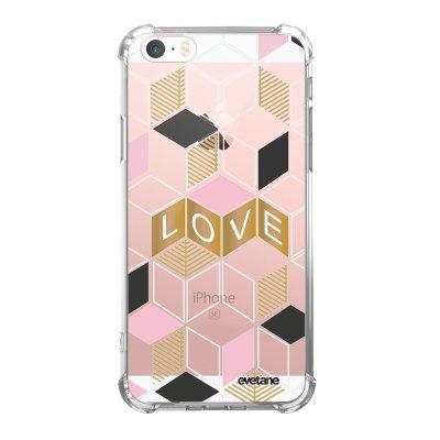 Coque iPhone 5/5S/SE anti-choc souple angles renforcés transparente Cubes love Evetane.