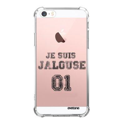Coque iPhone 5/5S/SE anti-choc souple angles renforcés transparente Jalouse 01 Evetane.
