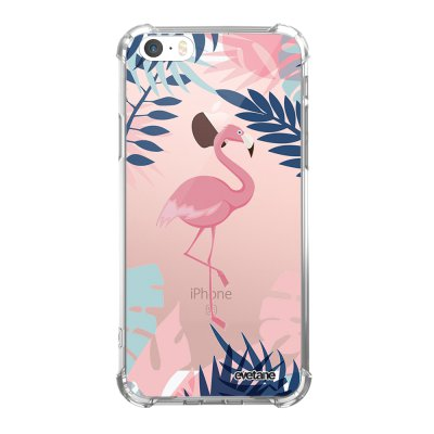 Coque iPhone 5/5S/SE anti-choc souple avec angles renforcés transparente Flamant Tropical Tendance Evetane...