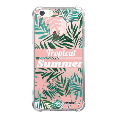 Coque iPhone 5/5S/SE anti-choc souple angles renforcés transparente Tropical Summer Pastel Evetane.