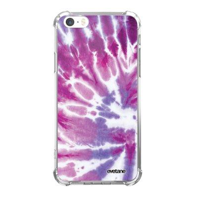 Coque iPhone 5/5S/SE anti-choc souple avec angles renforcés transparente Tie and Dye Violet Tendance Evetane...
