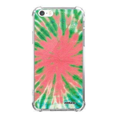 Coque iPhone 5/5S/SE anti-choc souple avec angles renforcés transparente Tie and Dye Corail Tendance Evetane...