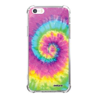Coque iPhone 5/5S/SE anti-choc souple avec angles renforcés transparente Tie and Dye Rainbow Tendance Evetane...
