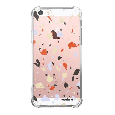 Coque iPhone 5/5S/SE anti-choc souple avec angles renforcés transparente Terrazzo Blanc Tendance Evetane...