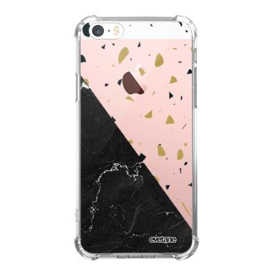 Coque iPhone 5/5S/SE anti-choc souple angles renforcés transparente Terrazzo marbre Noir Evetane.