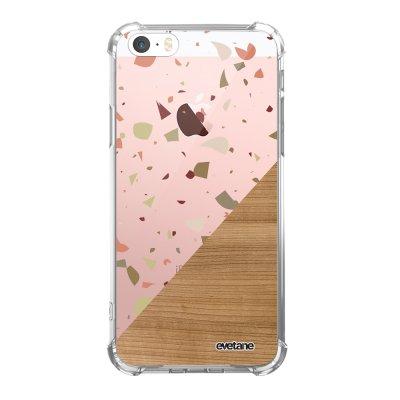 Coque iPhone 5/5S/SE anti-choc souple avec angles renforcés transparente Terrazzo bois Tendance Evetane...