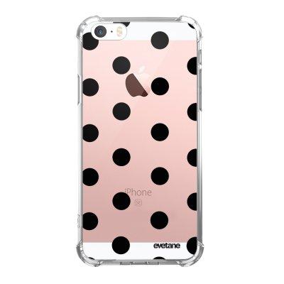 Coque iPhone 5/5S/SE anti-choc souple angles renforcés transparente Pois Noir Evetane.