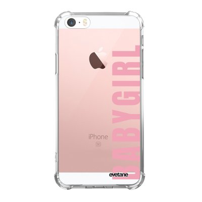 Coque iPhone 5/5S/SE anti-choc souple avec angles renforcés transparente Baby Girl Tendance Evetane...