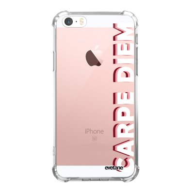 Coque iPhone 5/5S/SE anti-choc souple angles renforcés transparente Carpe Diem New Evetane.