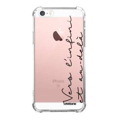 Coque iPhone 5/5S/SE anti-choc souple angles renforcés transparente Vers l'infini et l'au delà Evetane.