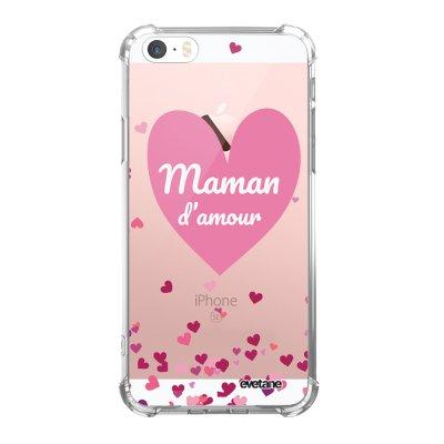 Coque iPhone 5/5S/SE anti-choc souple angles renforcés transparente Maman d'amour coeurs Evetane.