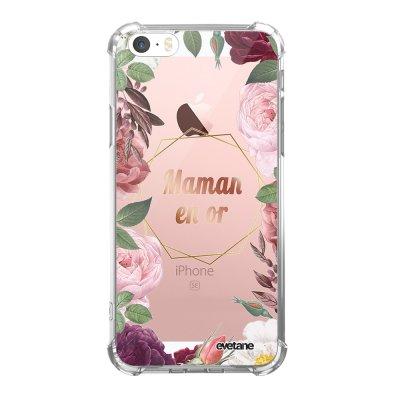Coque iPhone 5/5S/SE anti-choc souple angles renforcés transparente Coeur Maman D'amour Evetane.