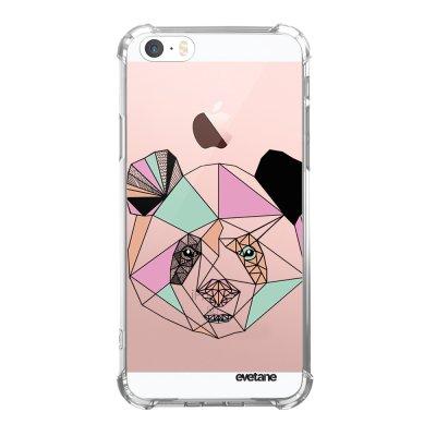 Coque iPhone 5/5S/SE anti-choc souple angles renforcés transparente Panda Outline Evetane.