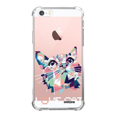 Coque iPhone 5/5S/SE anti-choc souple angles renforcés transparente Cat pixels Evetane.