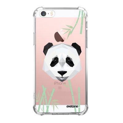 Coque iPhone 5/5S/SE anti-choc souple angles renforcés transparente Panda Bambou Evetane.
