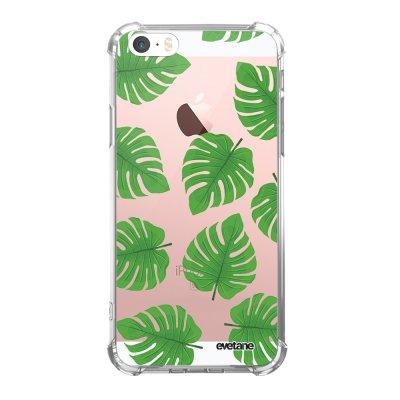 Coque iPhone 5/5S/SE anti-choc souple angles renforcés transparente Feuilles palmiers Evetane.